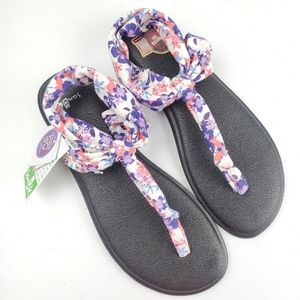 NWT! SANUK Yoga Sling Floral Fabric Sandals